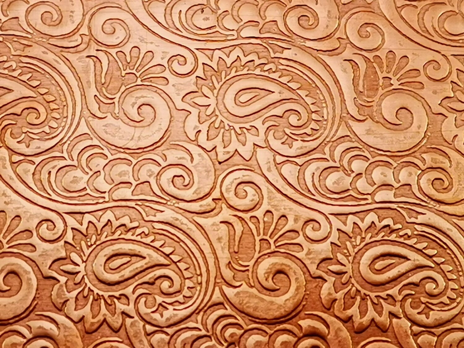 "Tooled Paisley Patterned Copper Sheet Metal 6"" x 2"""
