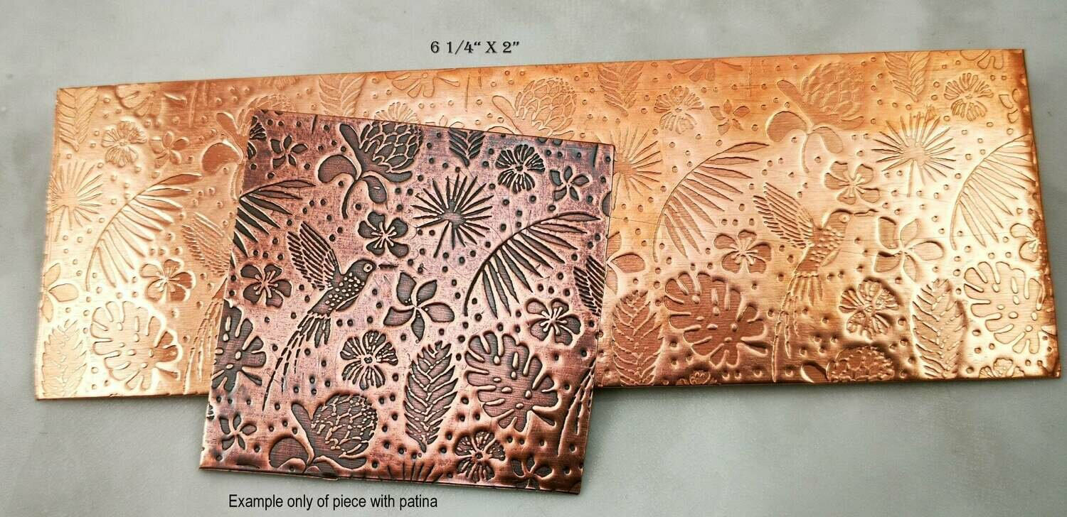"""LIMITED AVAILABILITY Humming Bird Textured Copper Sheet Metal 6"""" x 2"""""""
