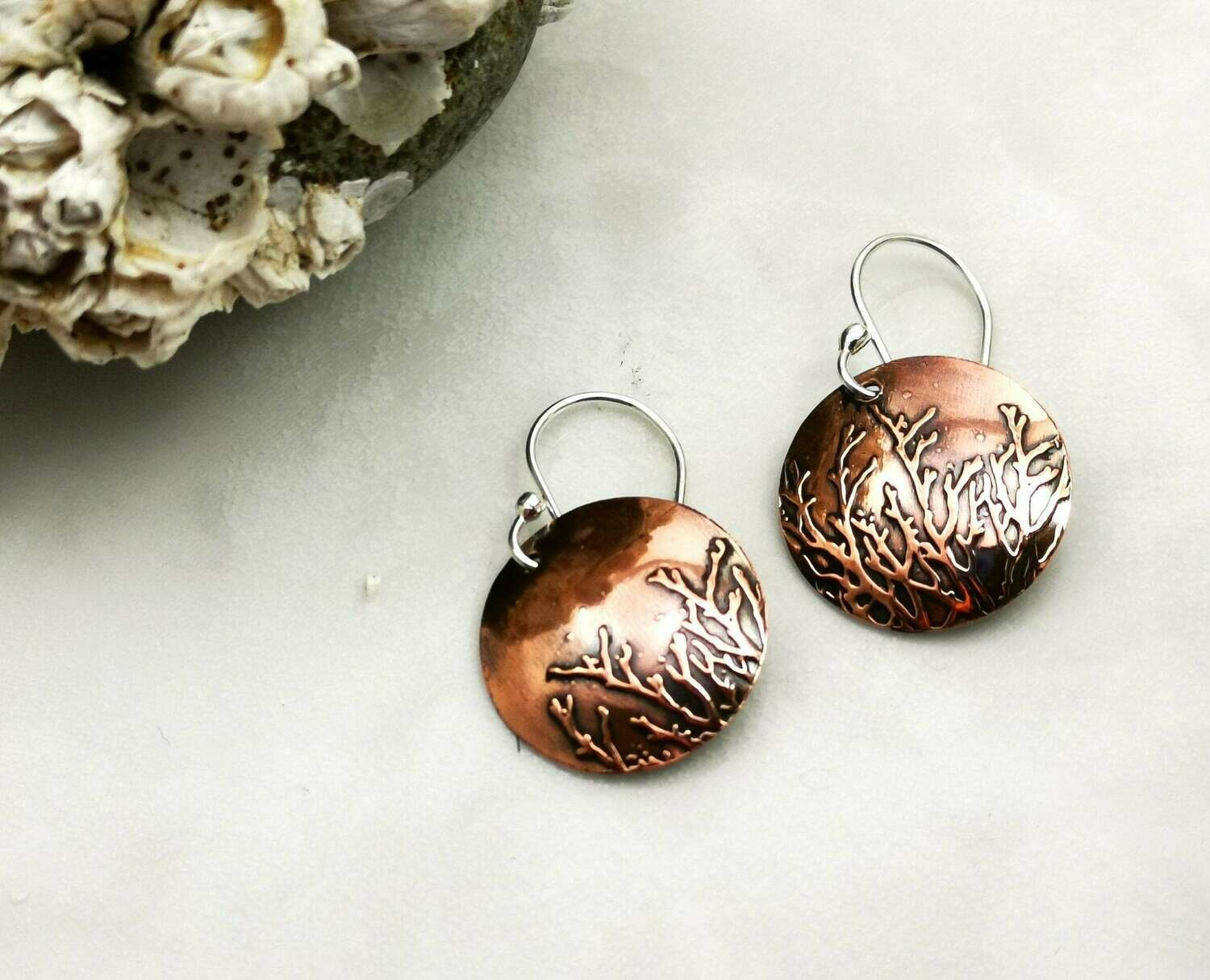 Coral Seaweed Ocean Patterned Copper Earrings