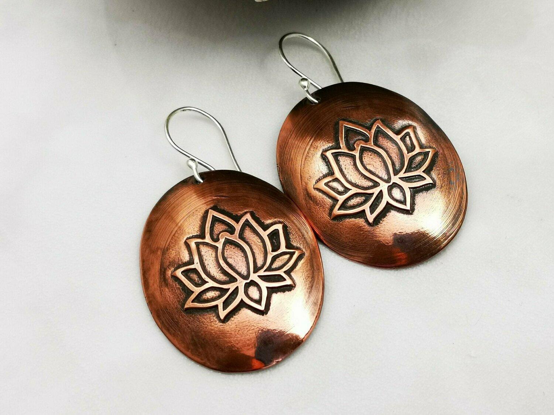 Lotus Flower, Lotus Jewelry, Lotus Earrings, Lotus Design, Oval Jewelry, Oval Earrings, Copper Jewelry, Copper Earrings, Lotus Copper