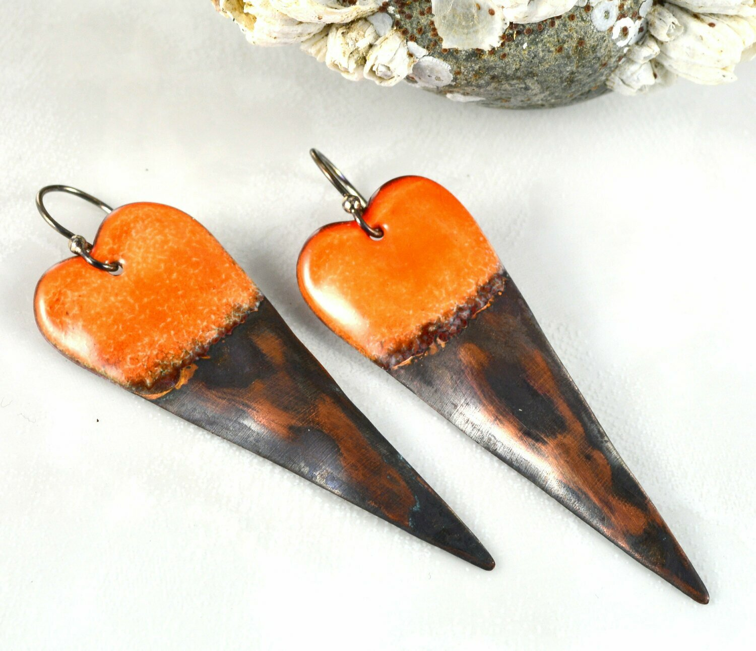 Long Sleek Orange Torch Fired Enameled Copper Heart Earrings, Jewelry Gifts for Women