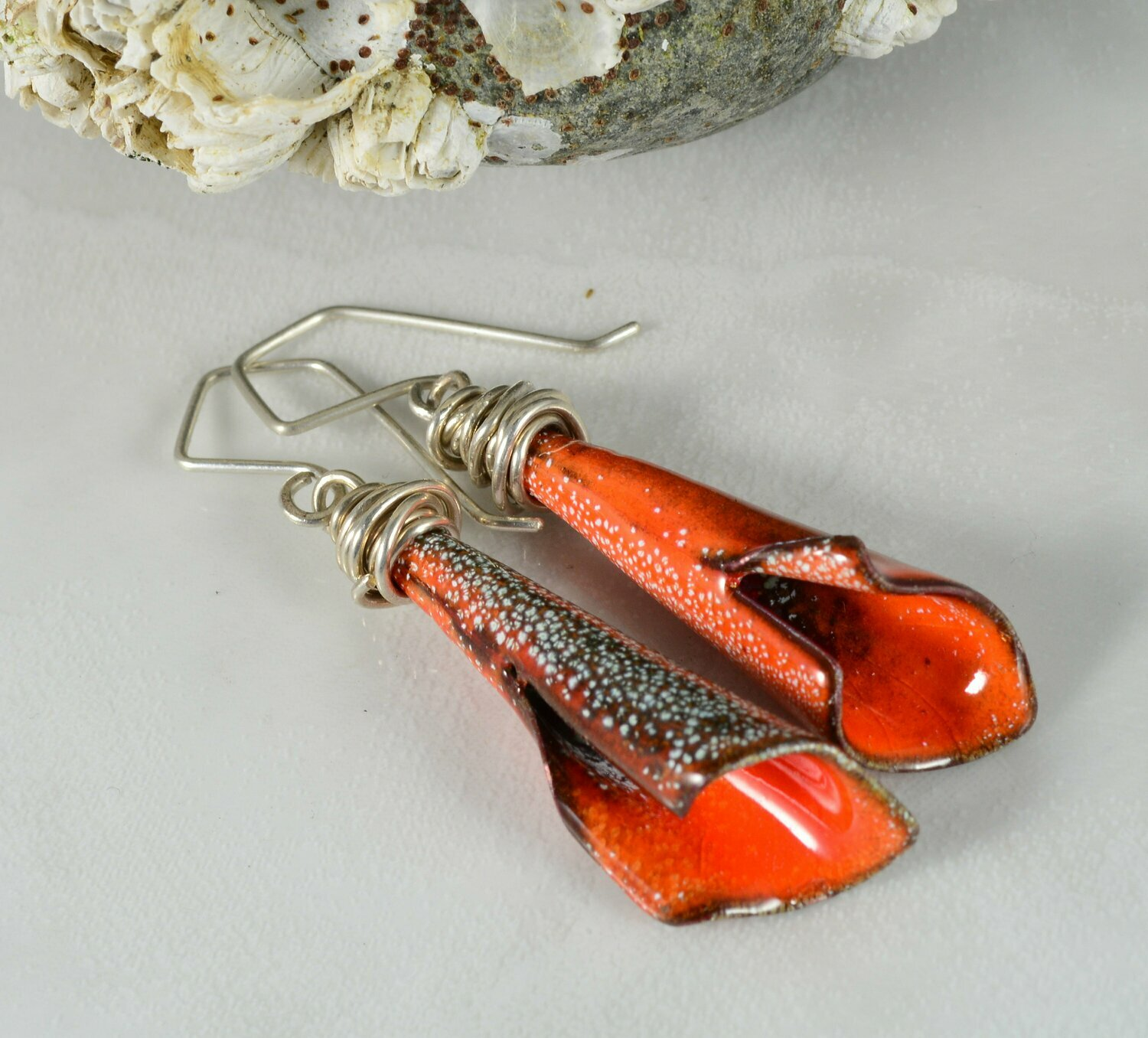 Wire Wrapped Wide Flare Flame Orange Calla Lily Torch Fired Enameled Earrings on Handmade Ear Wires