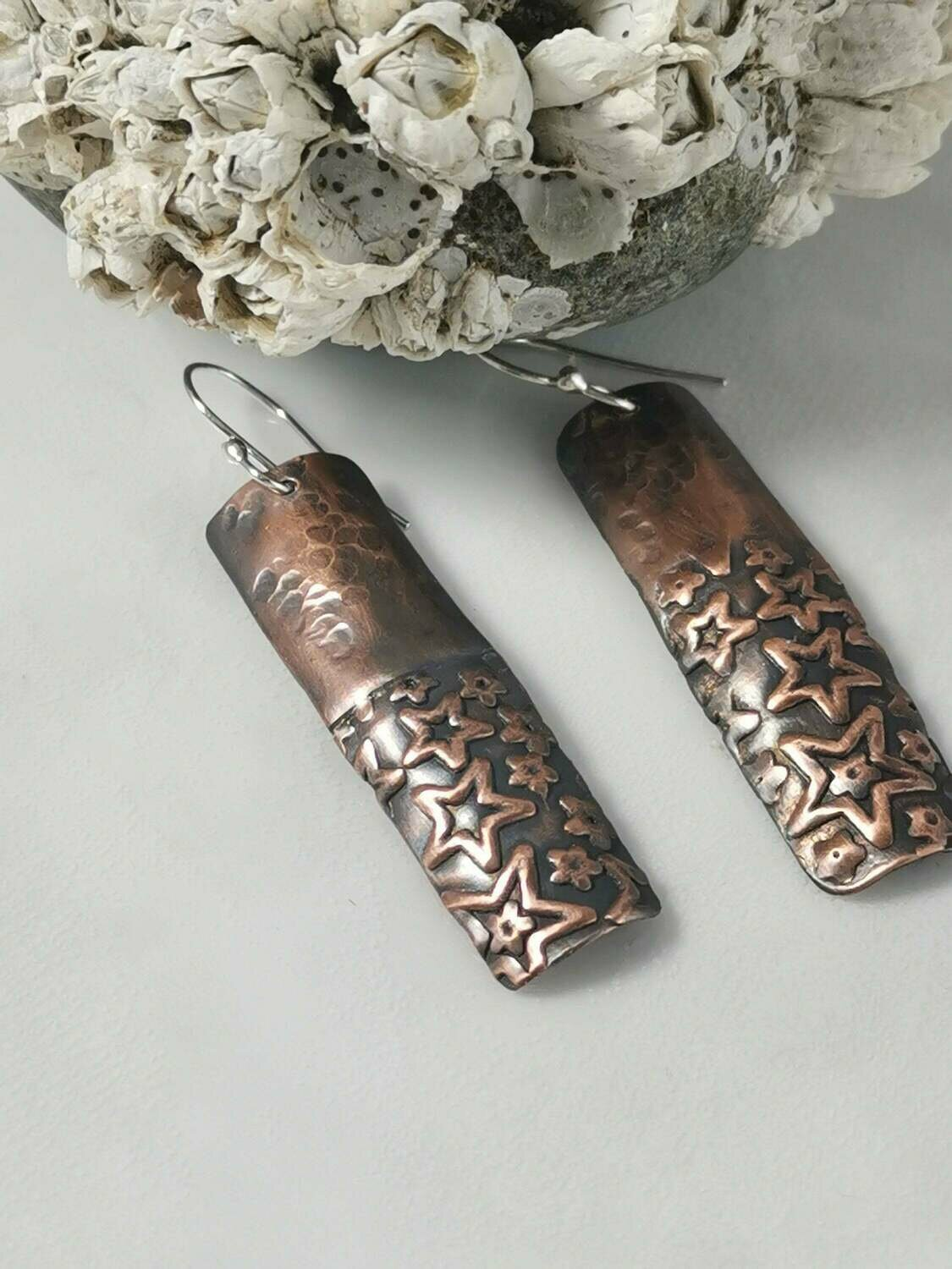Star Textured Copper Rectangle Earrings