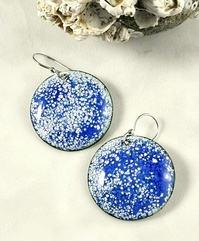Gifts for Her, Enamel Jewelry, Enamel Earrings, Enamel Circle, Enamel Copper, Blue Enamel, Torch Enameled, Copper Earrings, Round Earrings