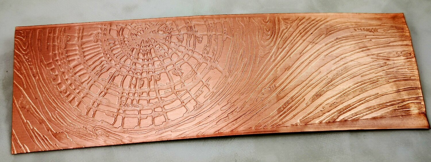 "Knotty Wood Textured Copper Sheet Metal 6"" x 2"""