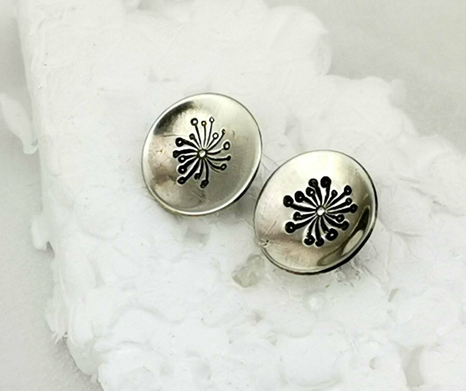 Dainty Dandelion Flower Sterling Silver Stud Earrings