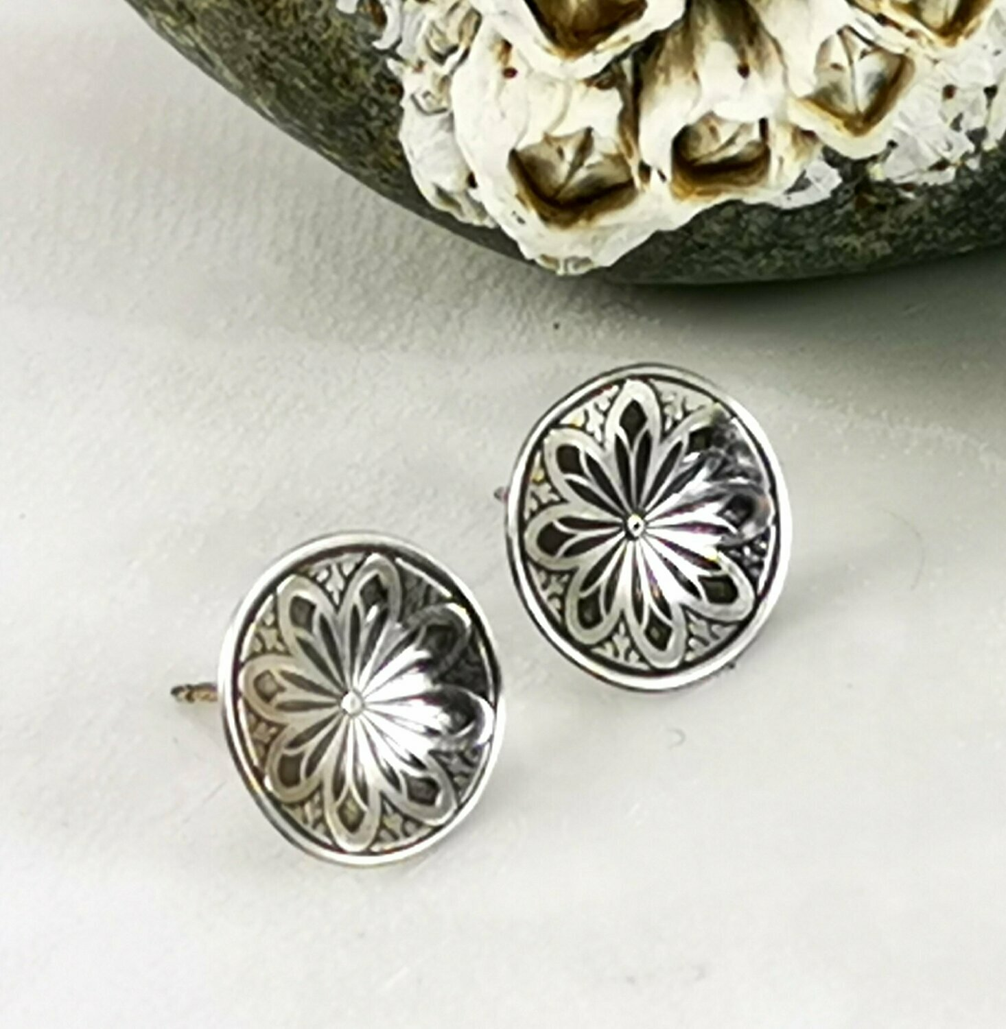 Lotus Flower Sterling Silver Earrings
