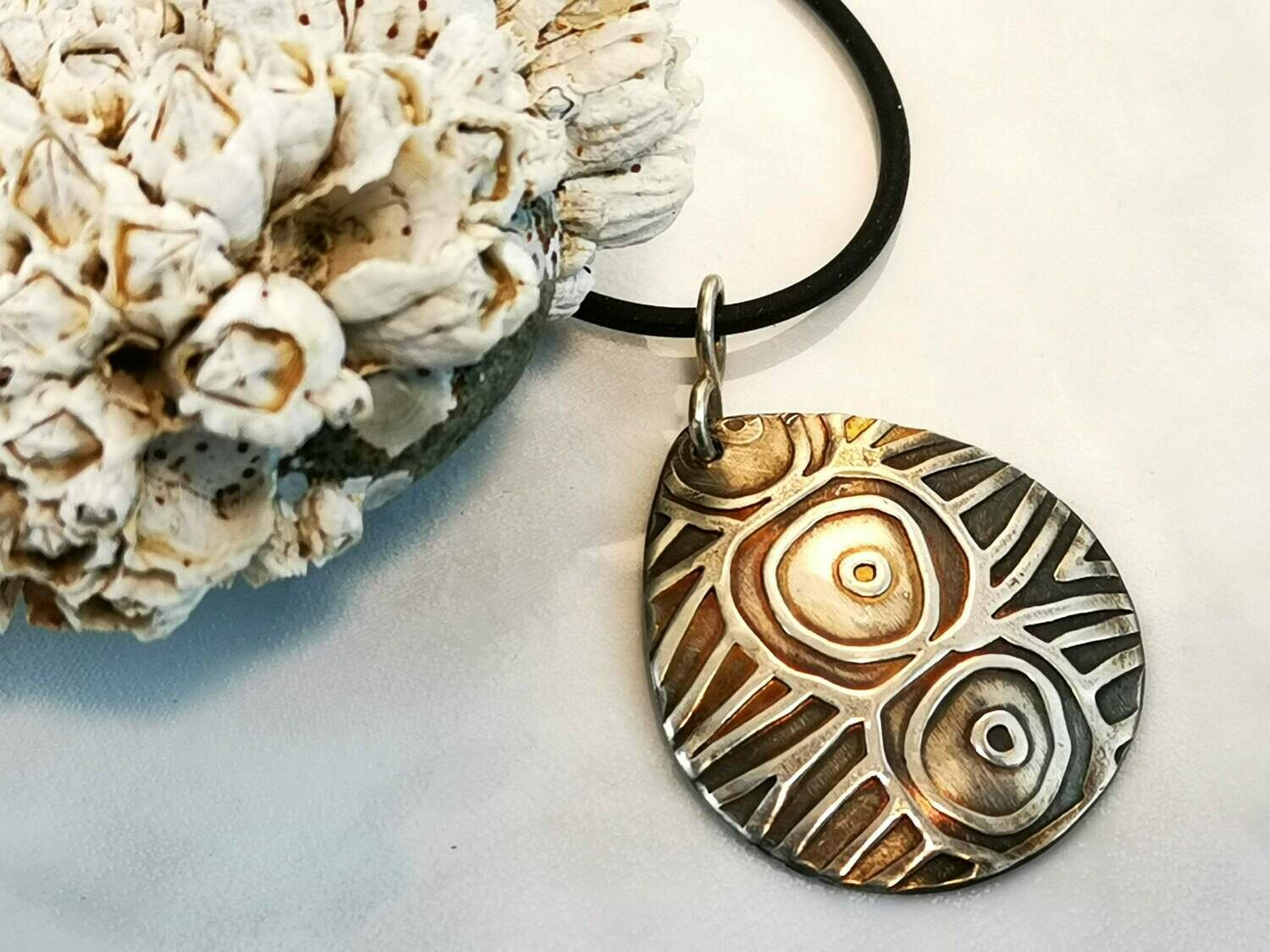 Sterling Silver Circles in Circles Textured Tear Drop Pendant
