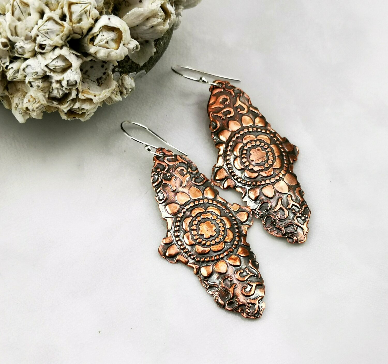 Mandala Earrings, Mandala Jewelry, Mandala Design, Mandala Pattern, Copper Pattern, Copper Texture, Copper Jewelry, Copper Earrings