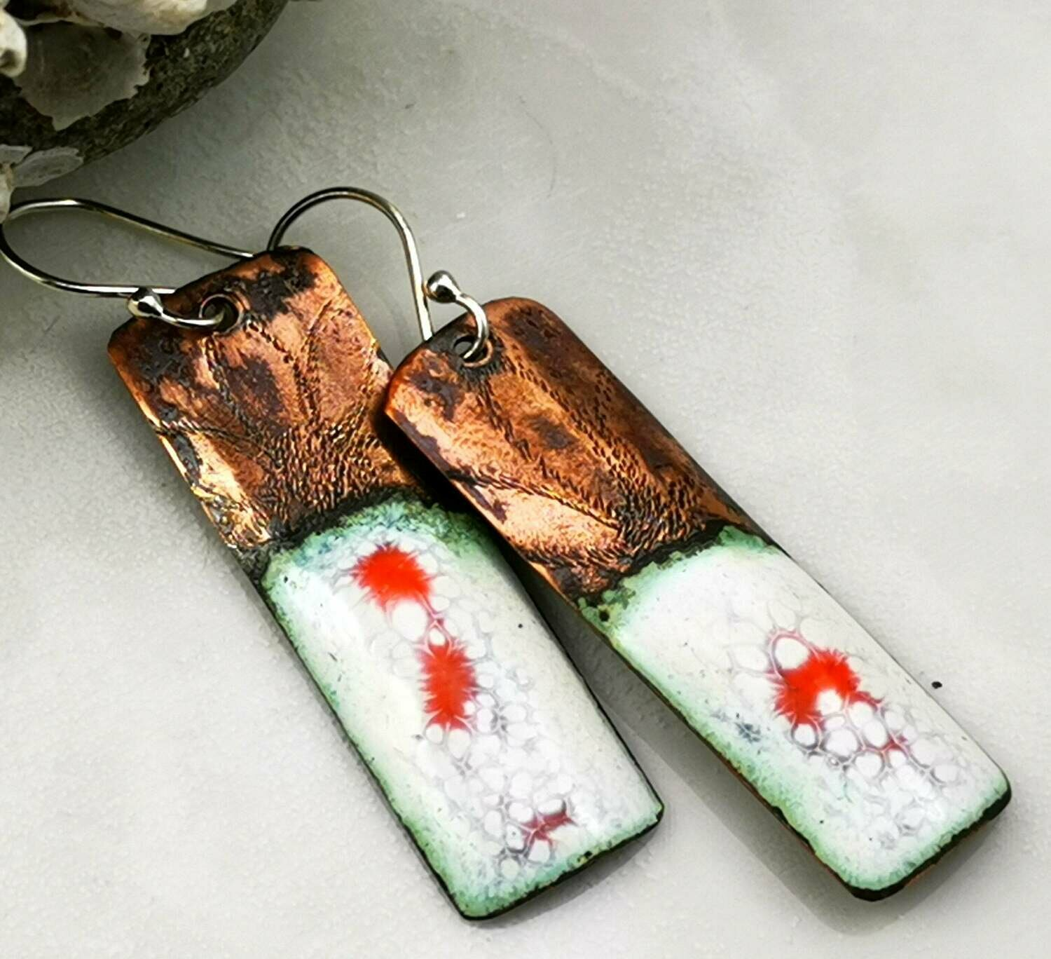 Orange and White Torch Fired Vitreous Enamel Rectangle Drop Earrings