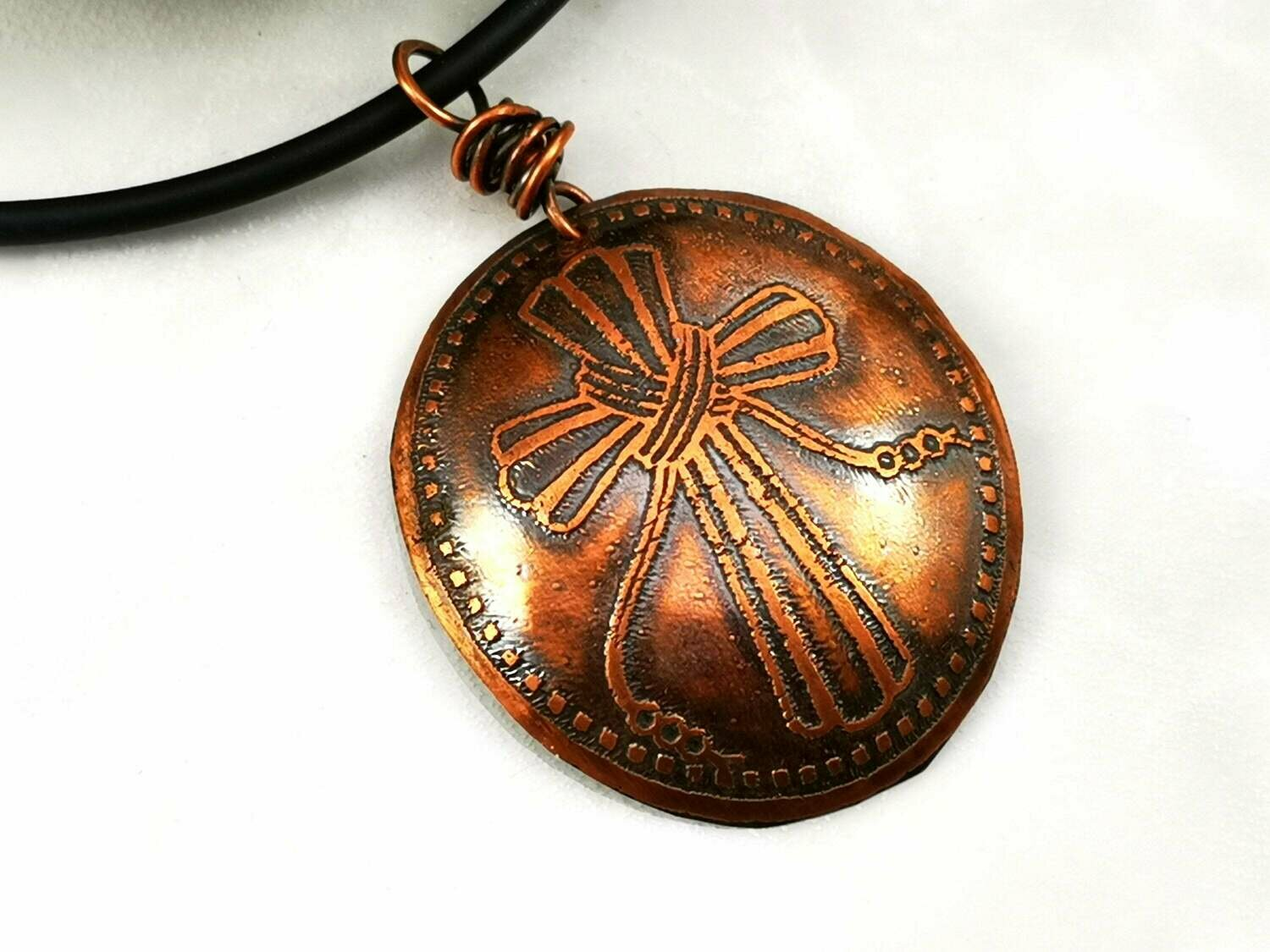 Warm Earthy Etched Celtic Cross Pendant with Wire Wrapped Bail