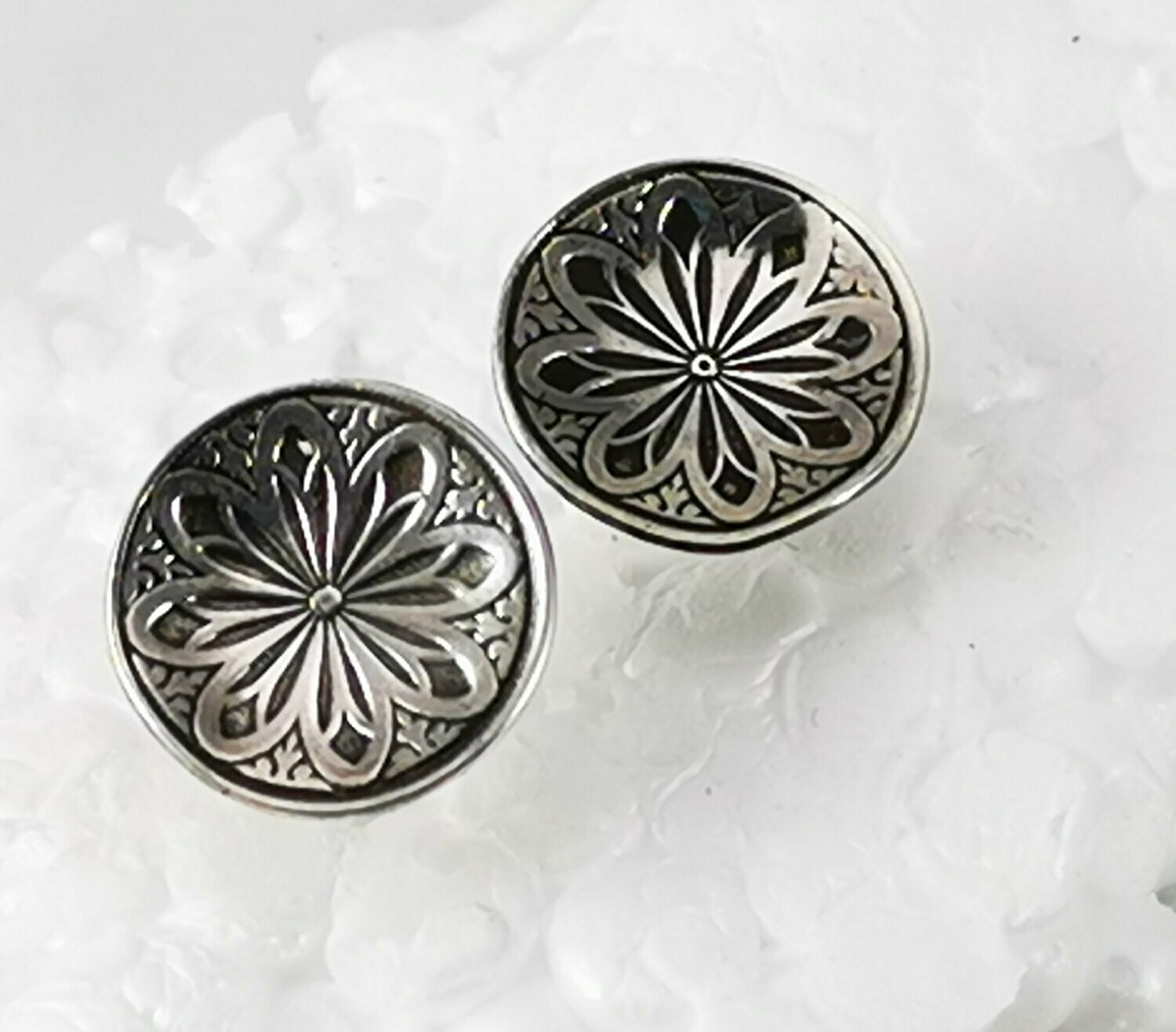 Mandala Stud Earrings Sterling Silver