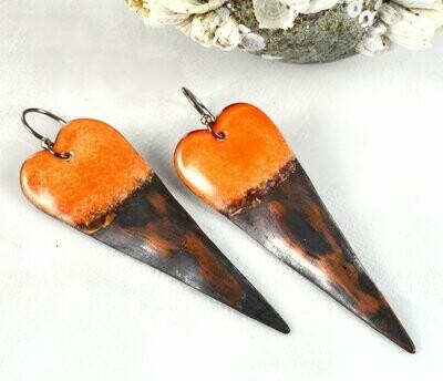 Long Sleek Orange Torch Fired Enameled Copper Heart Earrings, Jewelry Gifts for Women