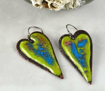 Gifts for Women, Blue Enamel Jewelry, Green Enamel Jewelry, Enamel Hearts, Enamel Copper, Torch Enameled, Heart Jewelry, Heart Earrings