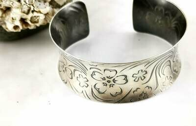 Antiqued Sterling Silver Flower Textured Anticlastic Cuff Bracelet