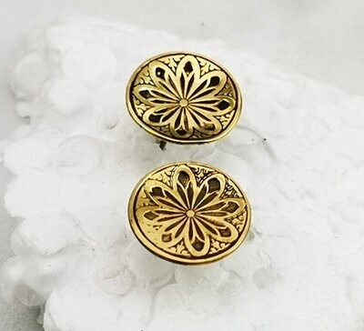 Lotus Flower NuGold Red Brass Stud Earrings