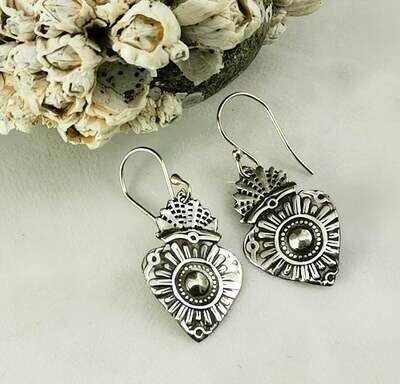 Milagros Sacred Heart Sterling Silver Earrings