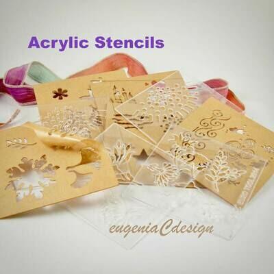 Stencils, Enameling Stencils, Enamel Stencils, Laser Cut Stencils, Laser Stencils, Design Stencils for Enameling 5PC Set