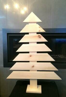 Tabletop Natural Pine Wood Tree Display