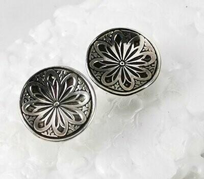 Mandala Stud Earrings Sterling Silver