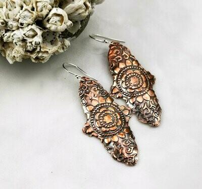 Mandala Earrings, Mandala Jewelry, Mandala Design, Mandala Pattern, Copper Pattern, Copper Texture, Copper Jewelry, Copper Earrings
