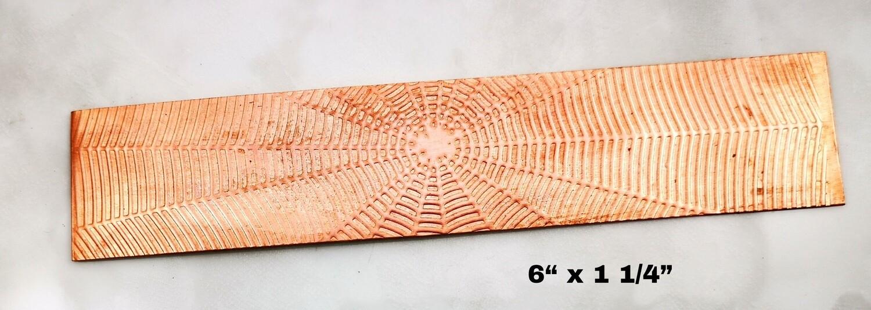 "Spider Web Textured Copper Sheet Metal 6"" x 1.25"""