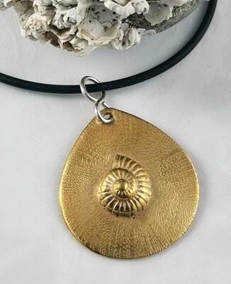 Repousse Nautilus Tear Drop Pendant with Hand Engraved Texture