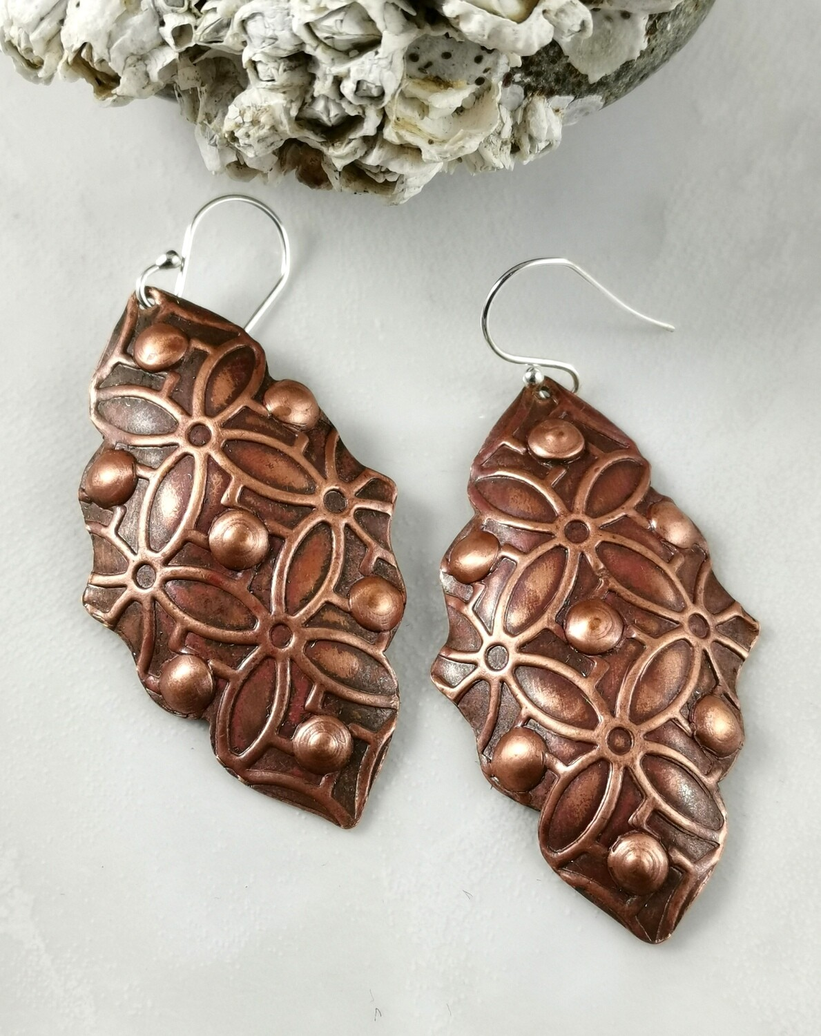 Repousse Long Dangle Red Copper Earrings