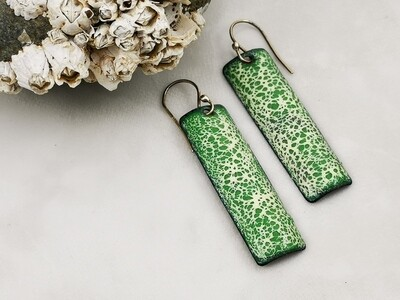 Torch Fired Green and White Speckled Vitreous Enamel Earrings