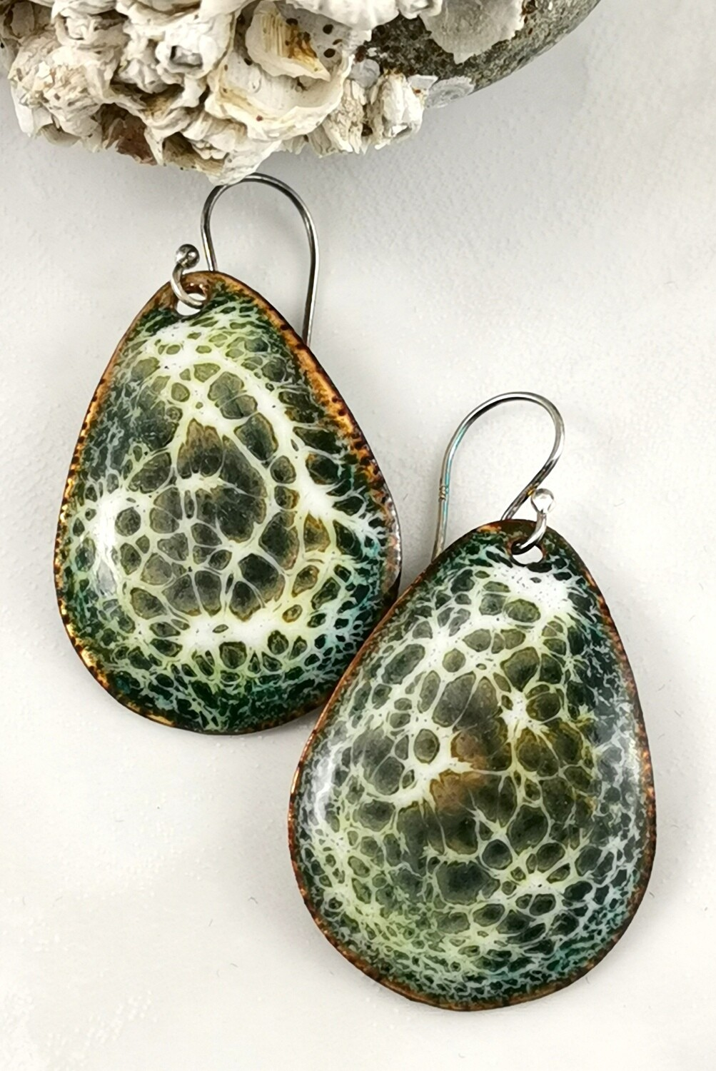 Torch Fired Enamel Earrings, Enameled Earrings, Green Tortuous Shell, with hues of green, golden brown and off white