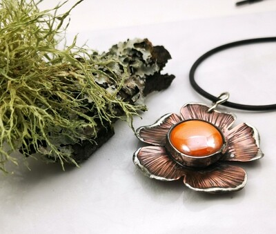 Rustic Earthy Organic Mixed Metal Hammer Textured Flower Pendant Necklace with Bezel Set Sunflower Colored Glass Cabochon