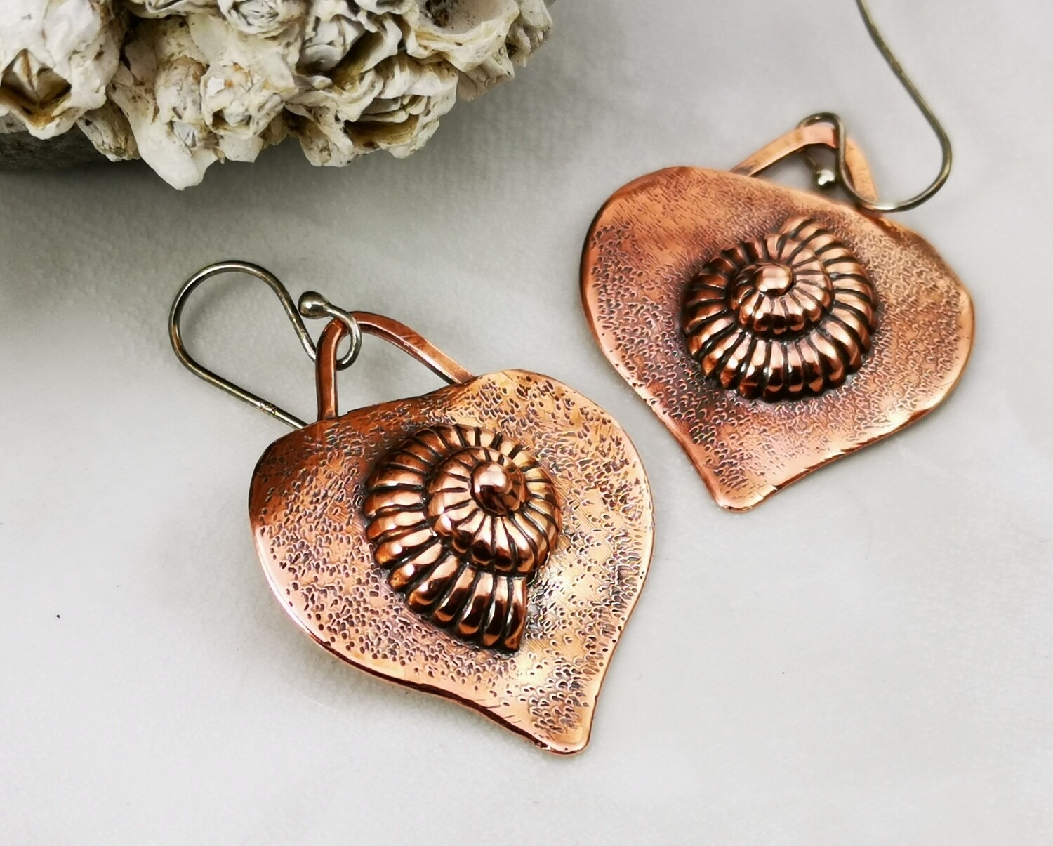 Repousse Nautilus Earrings on Sterling Silver Ear Wires