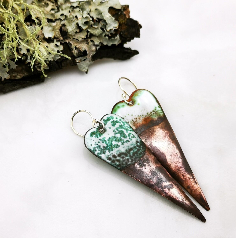 Gifts for Her, Enamel Jewelry, Enamel Earrings, Enamel Hearts, Enamel Copper, Green Earrings, White Earrings, Torch Enameled, Copper Heart, Copper Earrings