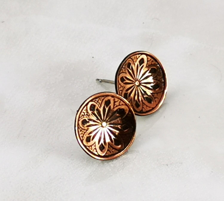 Lotus Flower Copper Stud Earrings