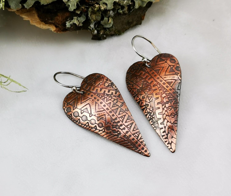 Zentangle Patterned Copper Heart Earrings