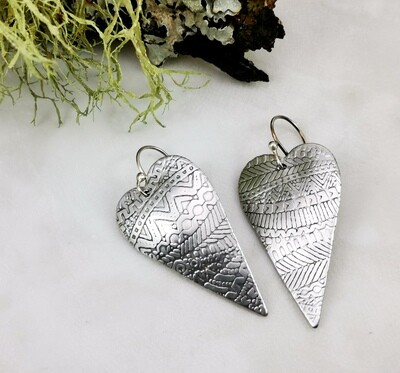 Aluminum Heart Shaped Earrings with a detailed Horizontal Zentangle Patterned Texture Lightweight