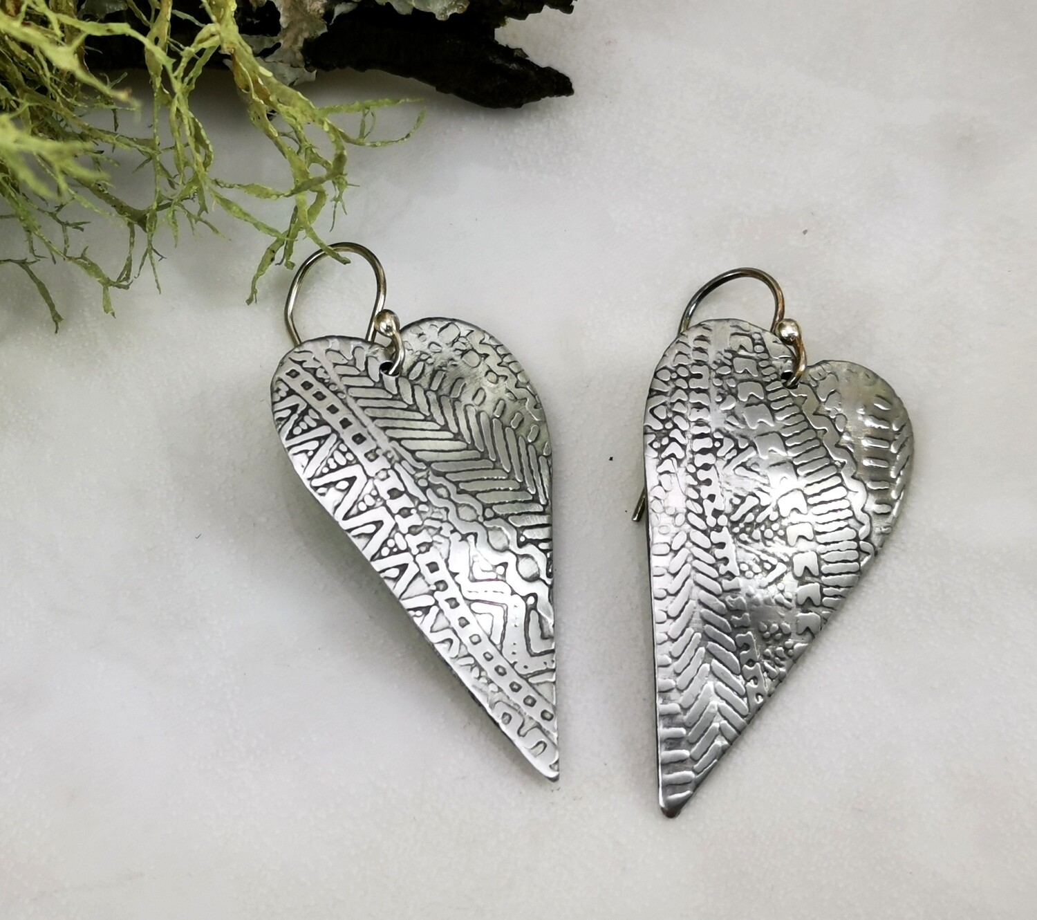 Aluminum Heart Shaped Earrings with a detailed Vertical Zentangle Patterned Texture Lightweight