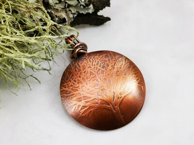 Tree of Life Copper Pendant with Wire Wrapped Bail