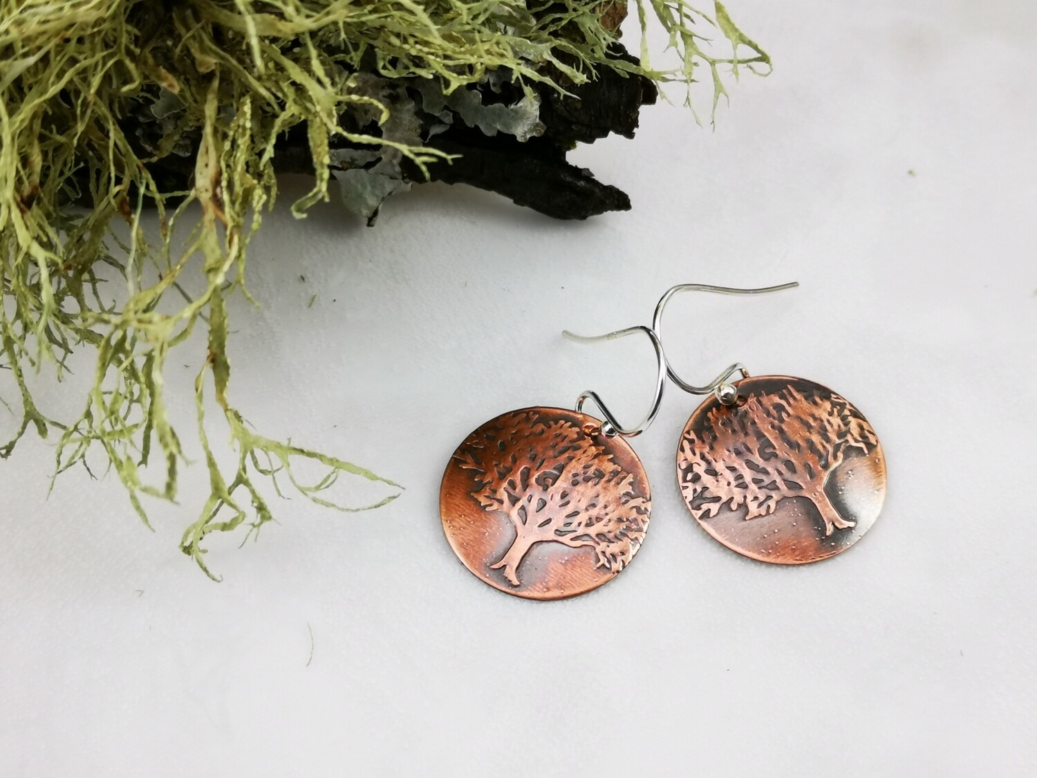 Tree of Life Textured Copper Earrings on Sterling Silver Ear Wires