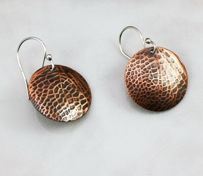 Medium Round Fairy / Dragonfly Wings Copper Earrings on Sterling Silver Ear Wires