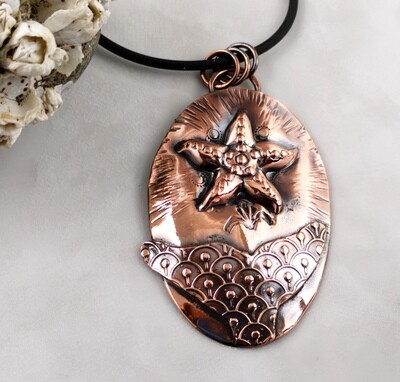 Under the Sea Jewelry, Mixed Metal Pendant, Hand Engraved, Whales Tail, Starfish Jewelry, Copper Jewelry, Gifts for Her, Gifts for Him