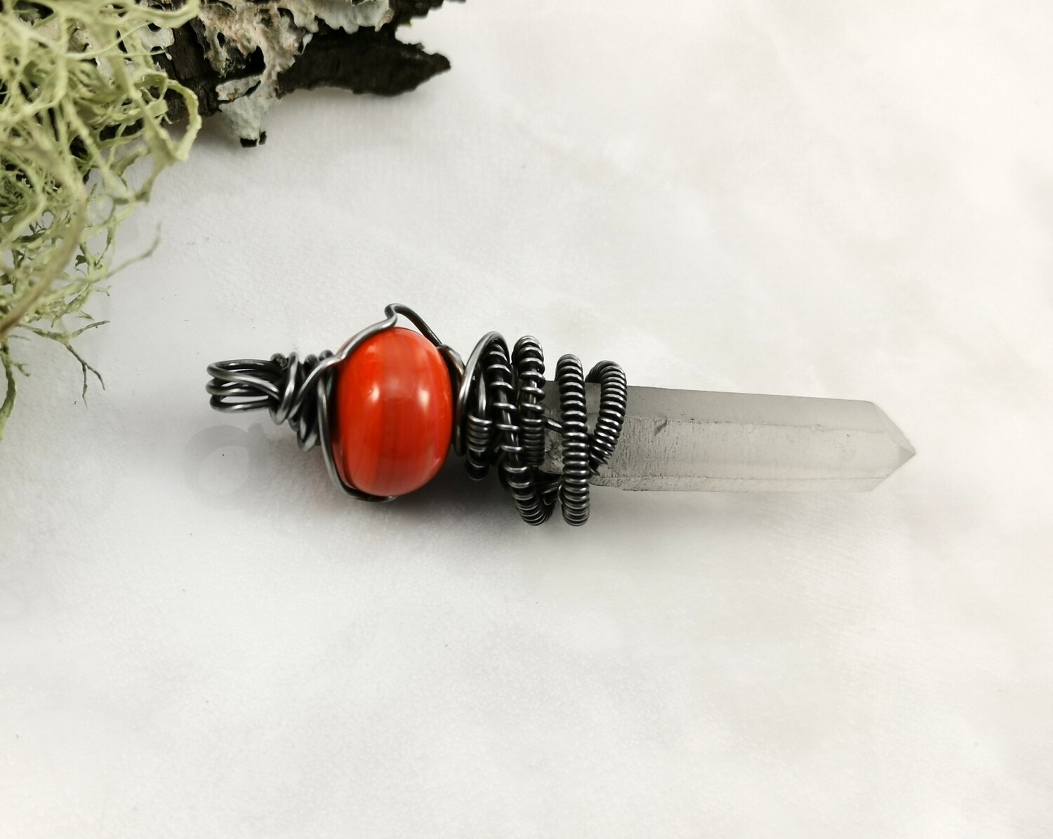 Crystal Healing, Crystal Quartz Points, Quartz Healing Stones, Reiki, Meditation, Orange Lampwork, Crystal Dagger Pendant, Steel Wire Wrapped, Steel Wire, Pendant, Necklace, Gifts for Her
