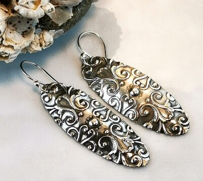 Scroll Pattern Textured Sterling Silver Oval Earrings