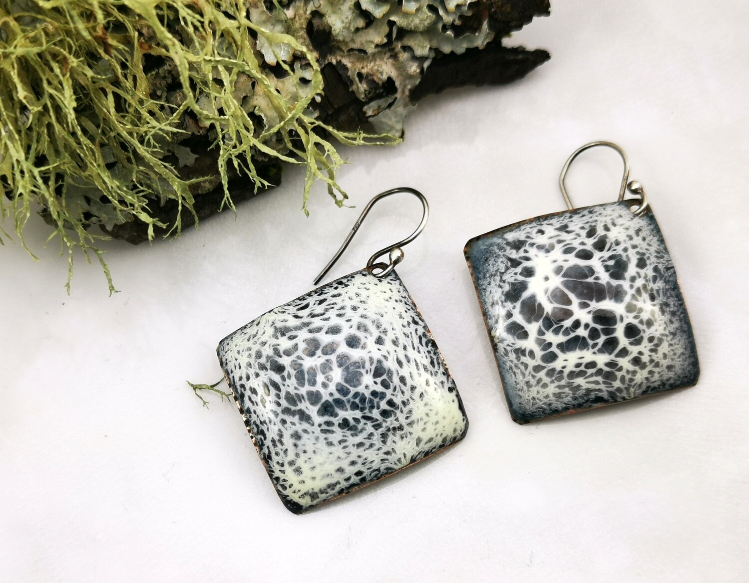 Shades of Gray and White Enameled Earrings, Enamel Jewelry, Abstract Jewelry