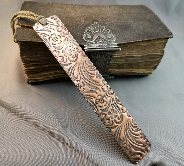 Handmade Field Flowers Patterned Copper Bookmark