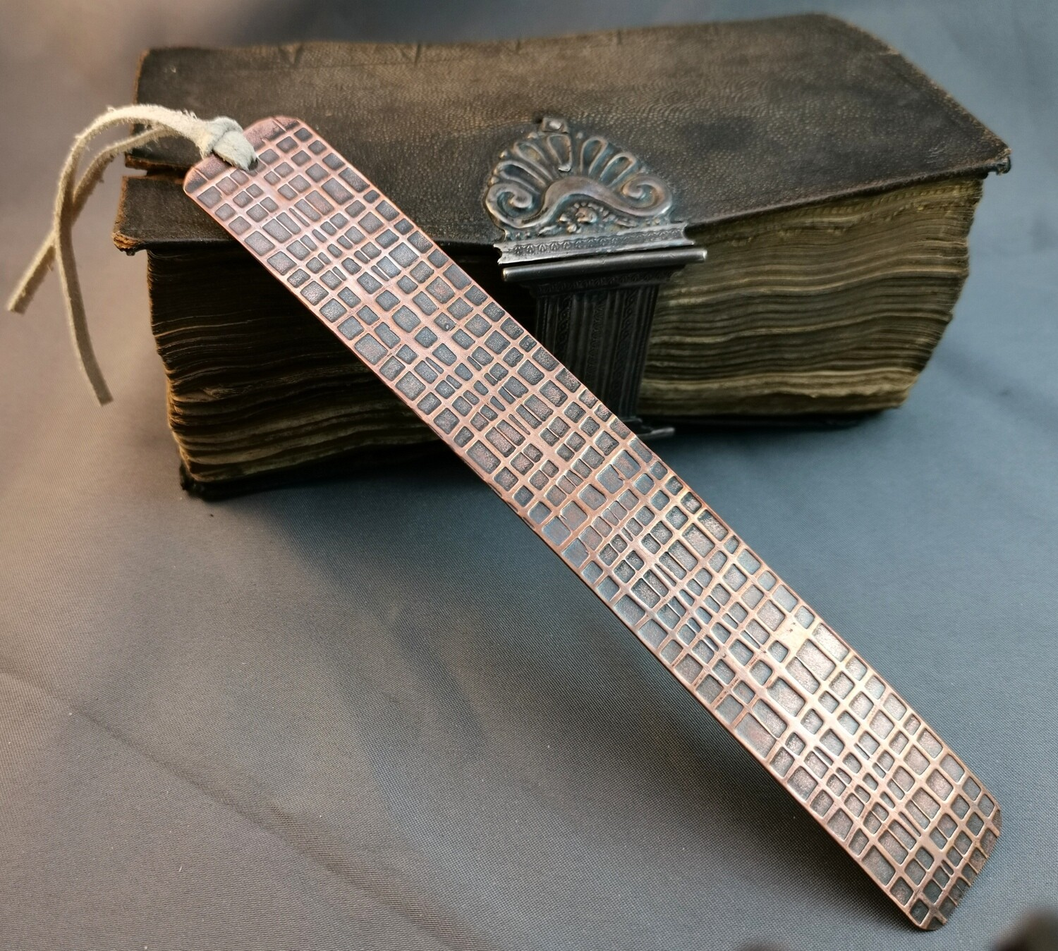 Handmade Grid Patterned Copper Bookmark