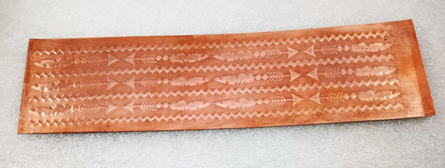 "Feathers and Arrows, Patterned Copper, Textured Copper, Copper Sheet, Copper Metal, Feather Pattern, Rolling Mill Pattern, Rolling Mill 6"" x 2"""