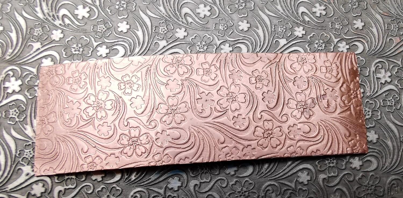"Field Flowers Patterned Textured Copper Sheet Metal 6"" x 2"""