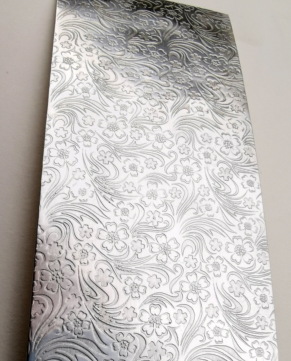 "Field Flowers Patterned Textured Sterling Silver Sheet Metal 6"" x 2"""