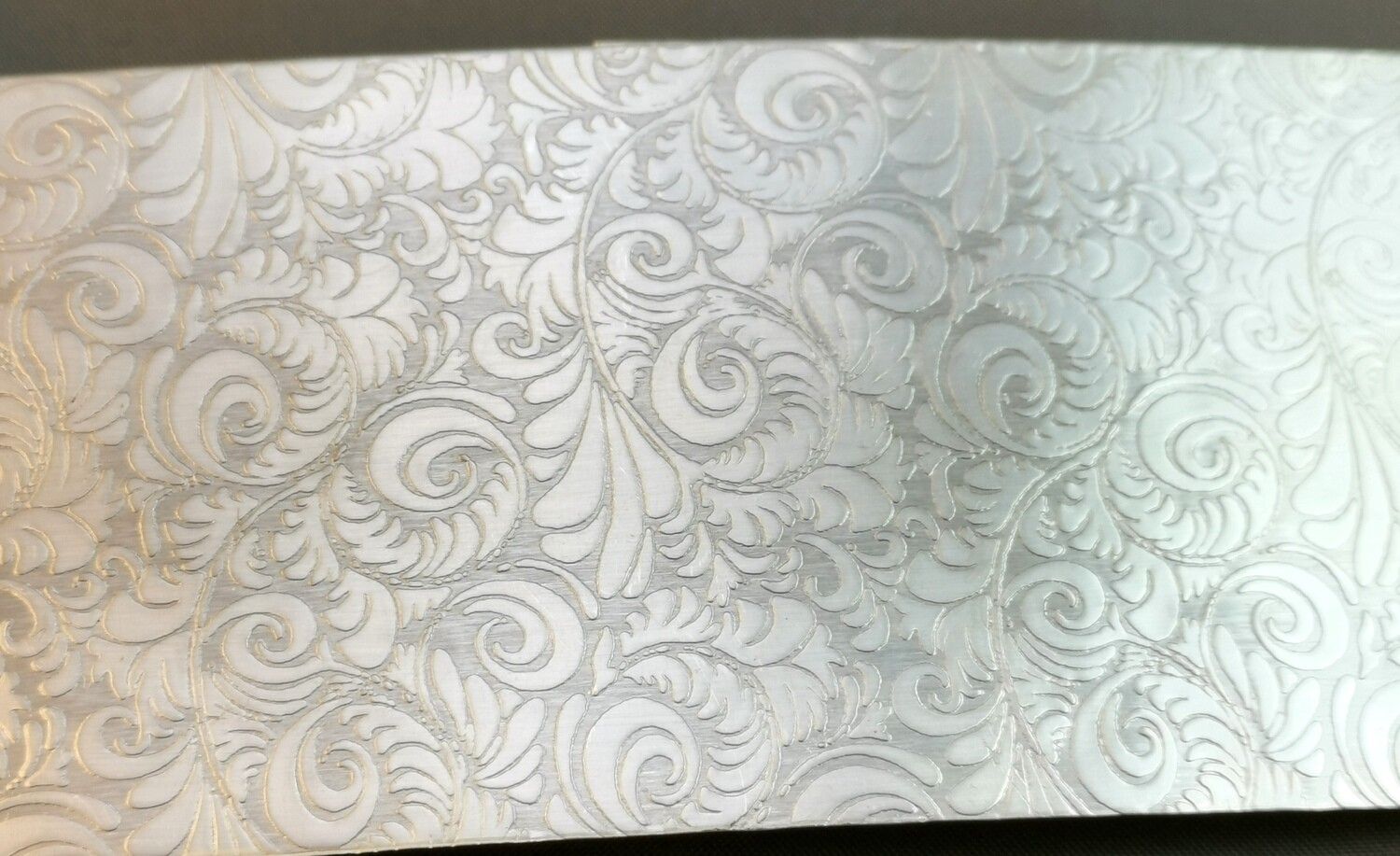 "Tooled Leather Patterned Textured Sterling Silver Sheet Metal 6"" x 2"""
